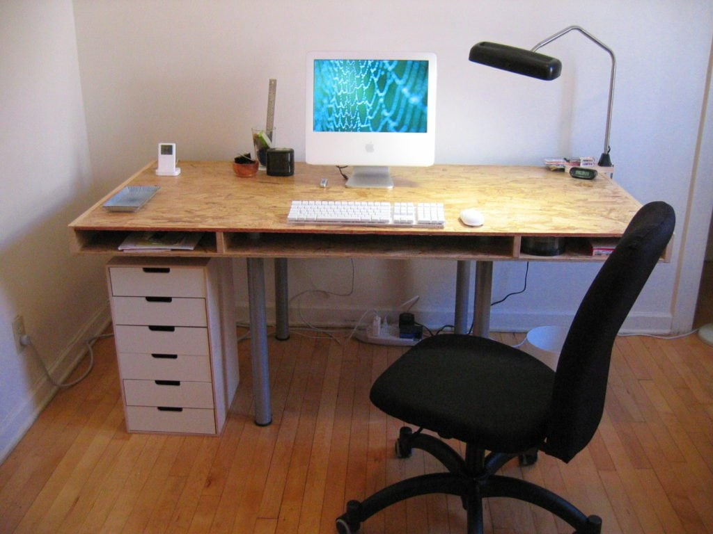 unfinished wood desk