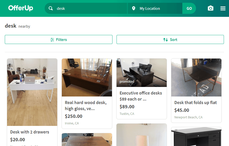searching for desks on offerup