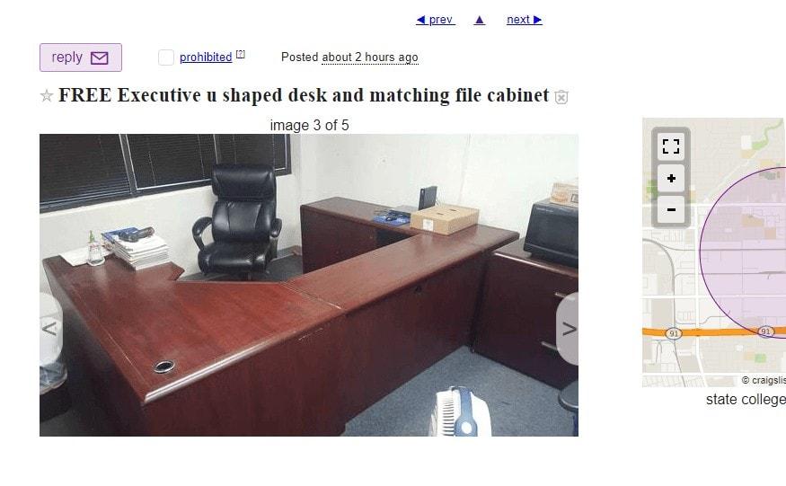 free u-shaped desk on craigslist