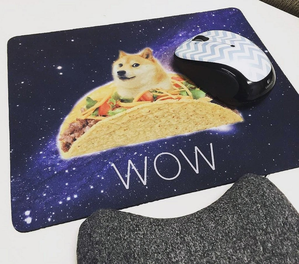 cloth mousepad with design: doge in a taco in space