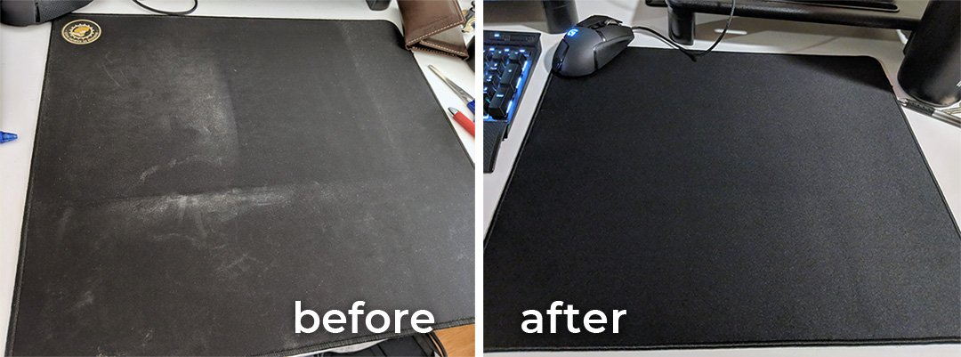 before and after cleaning mousepad