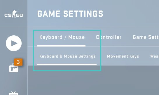 Keyboard/Mouse section in CS:GO settings