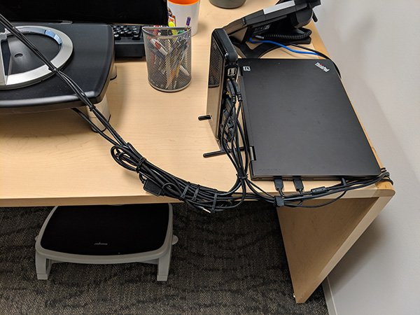 Cable management at my work desk setup.
