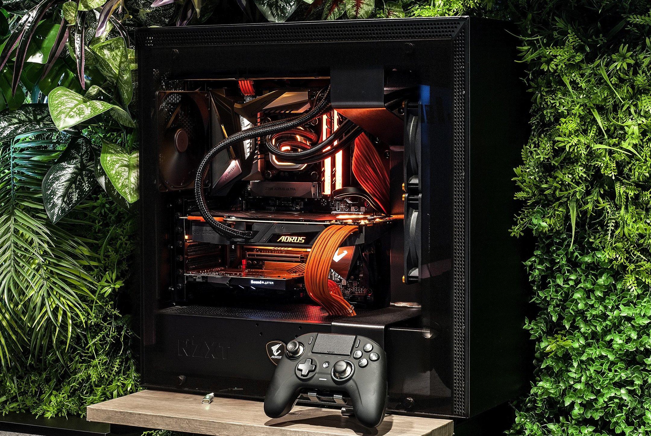 Close-up of AttackGem's PC build.