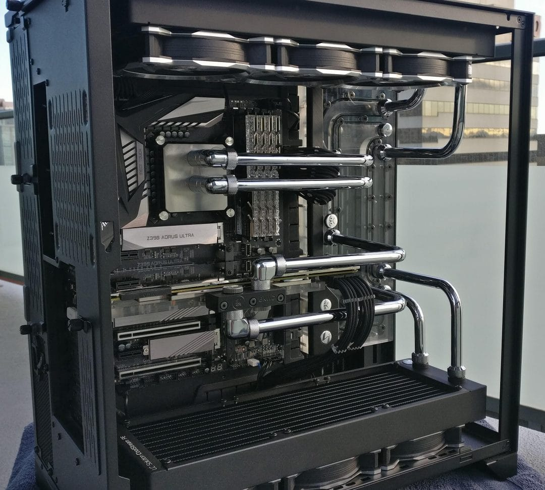 Full tower with custom water cooling loops