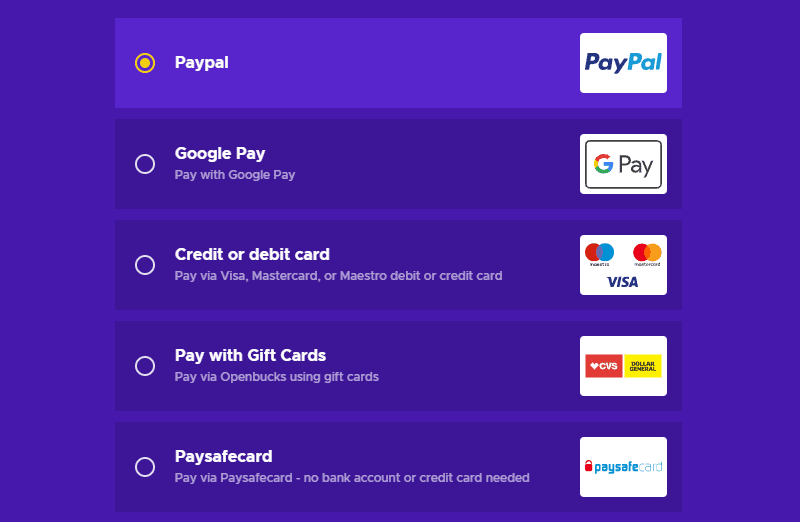 Eneba's payment options