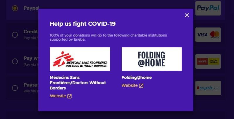 Eneba Covid-19 charity donation options