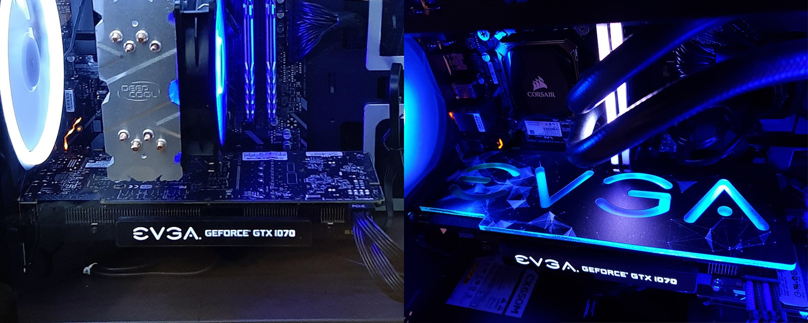 GPU backplate shown with and without
