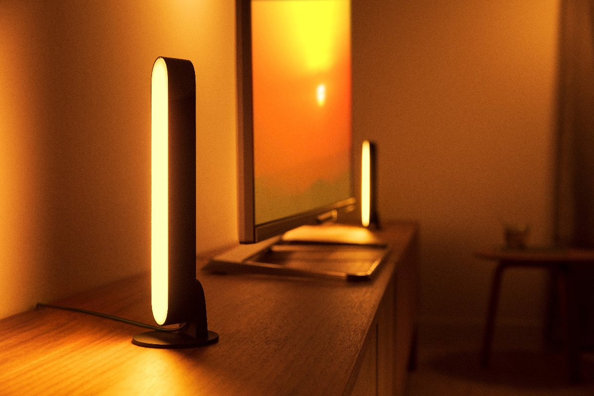 The Hue play light bars in their vertical position.