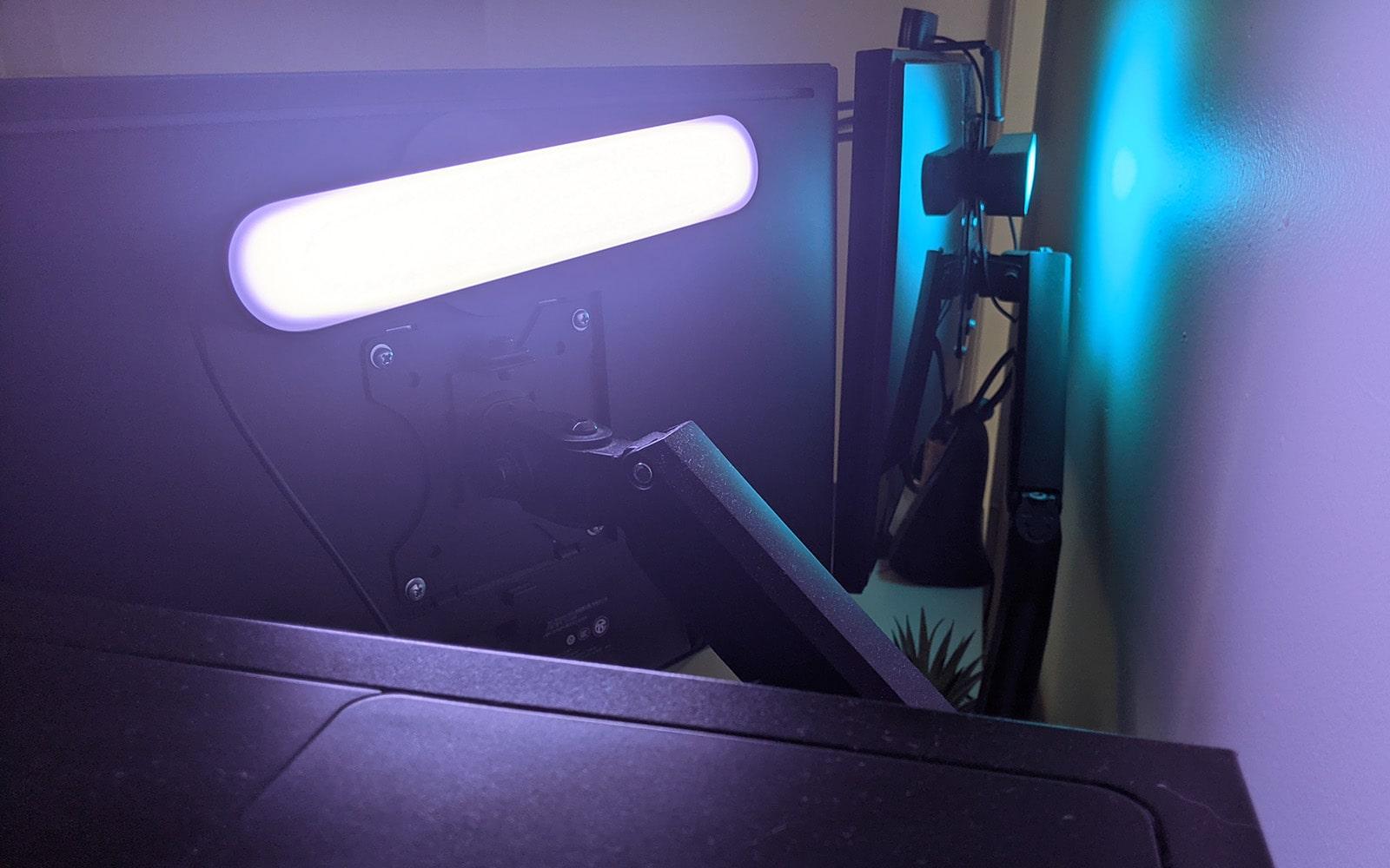 play light bar monitor mounted