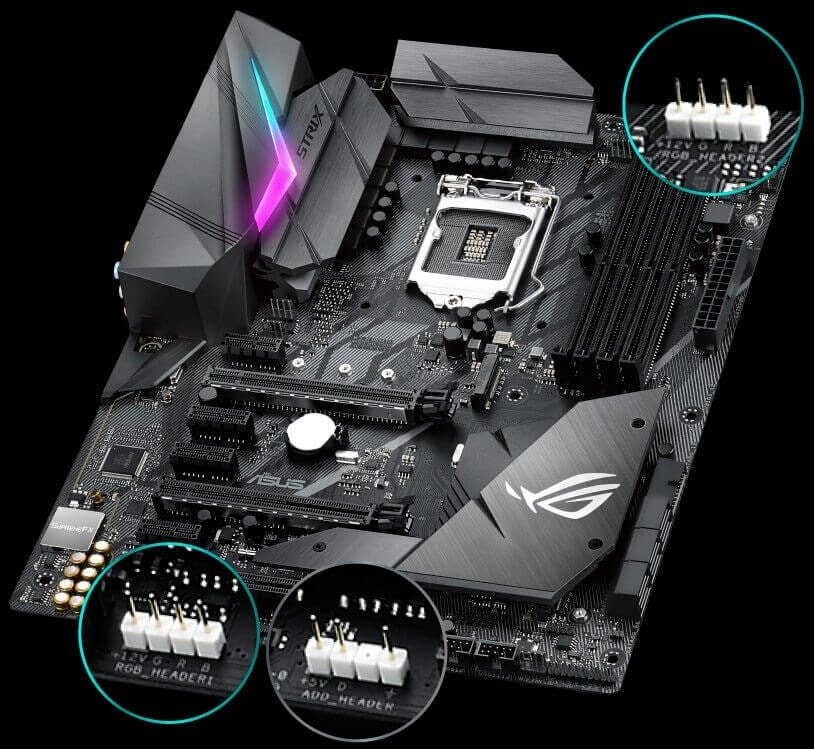 ARGB headers on a motherboard