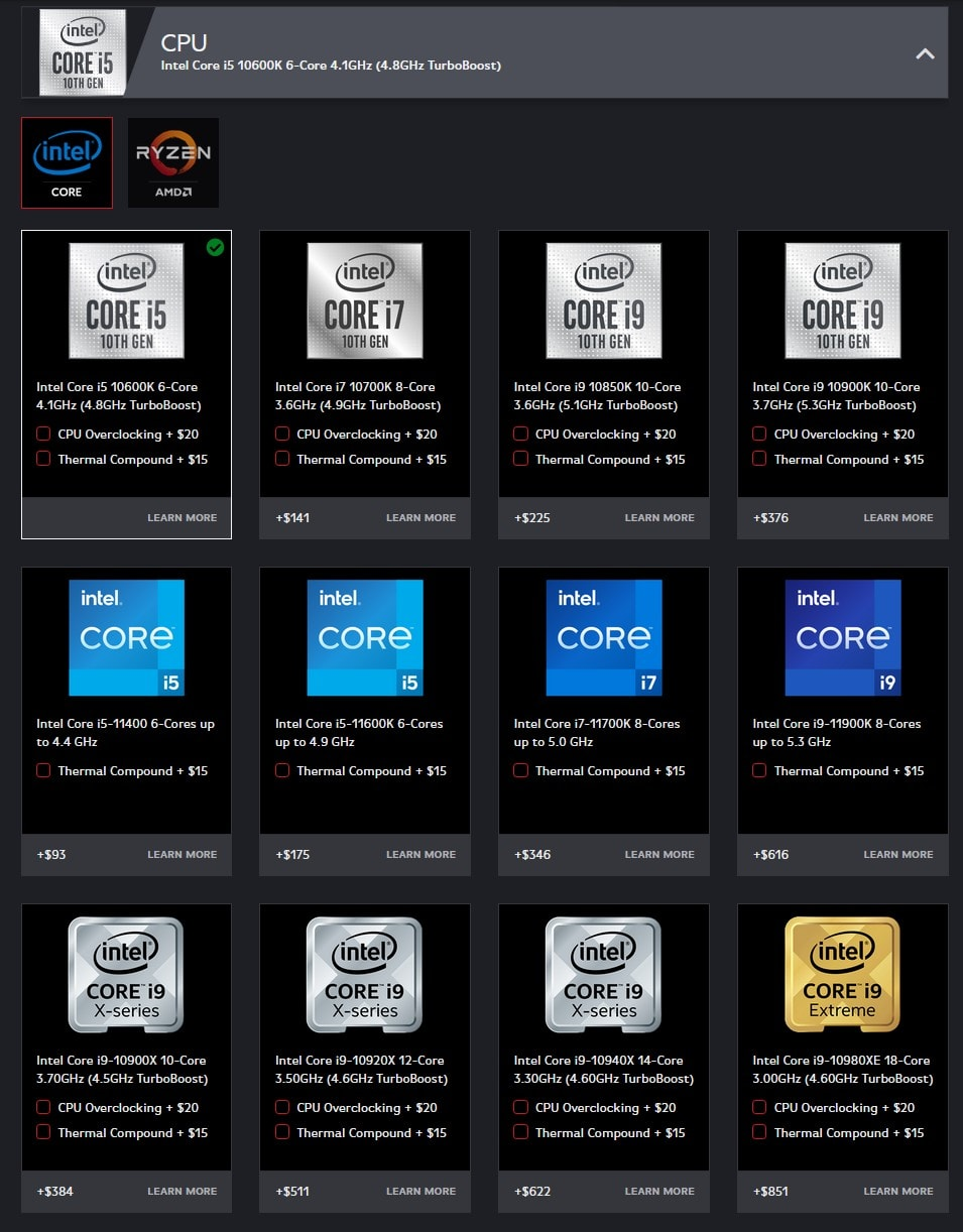 Origin PC CPU selection