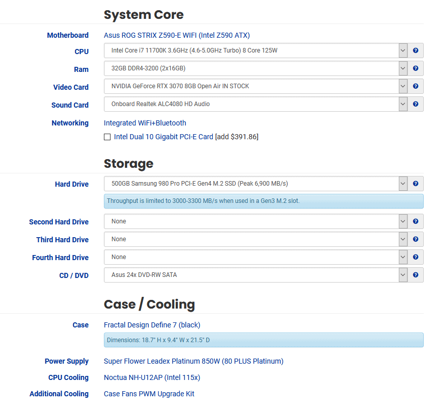 puget systems component choice