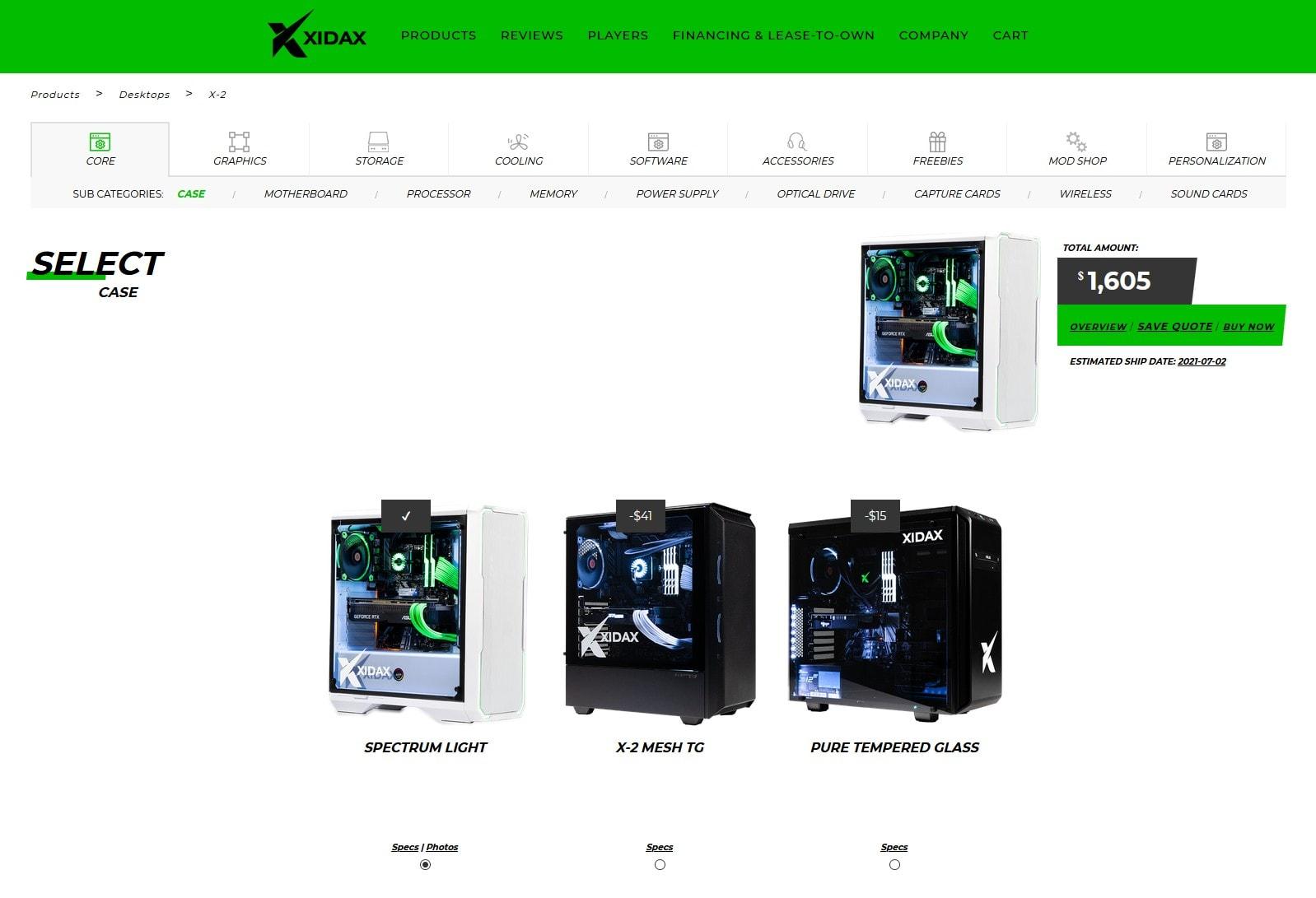 XIDAX custom PC builder