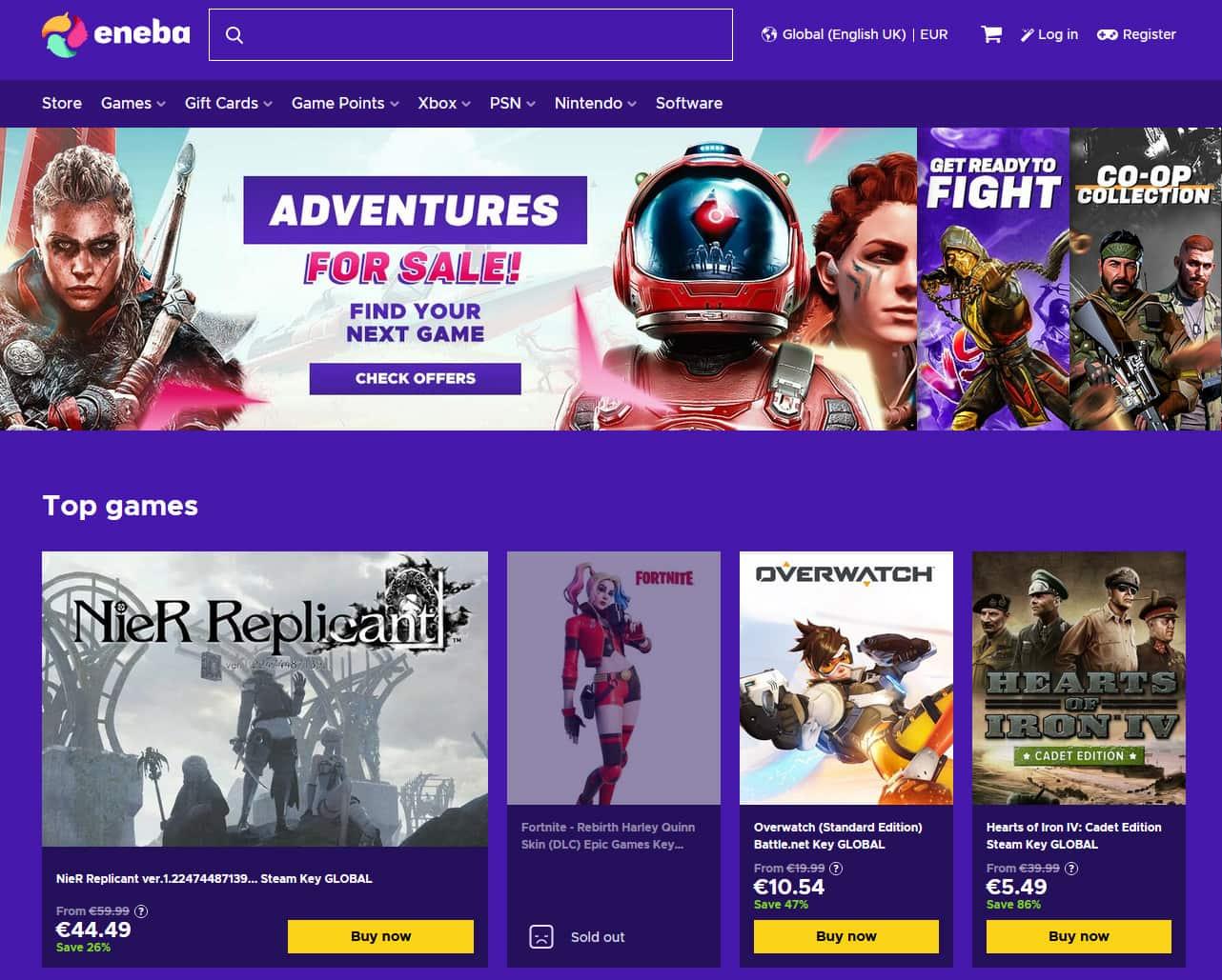 eneba game store homepage