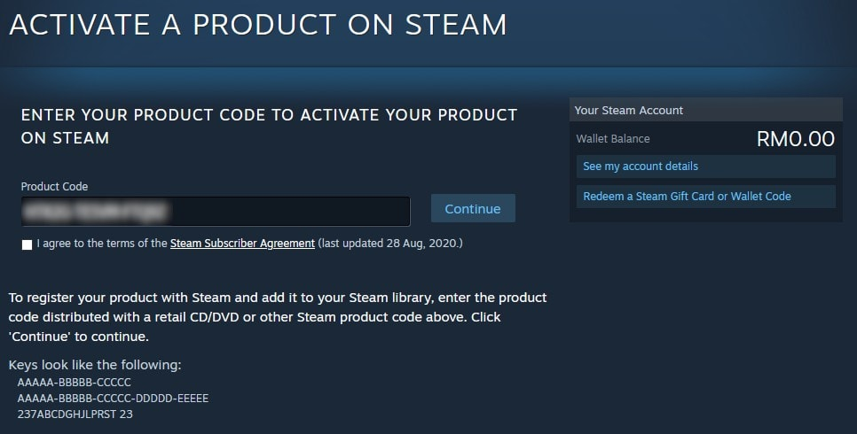 steam product activation screen