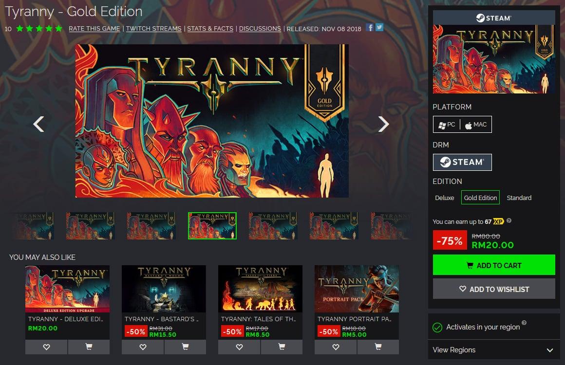 buying Tyranny on green man gaming