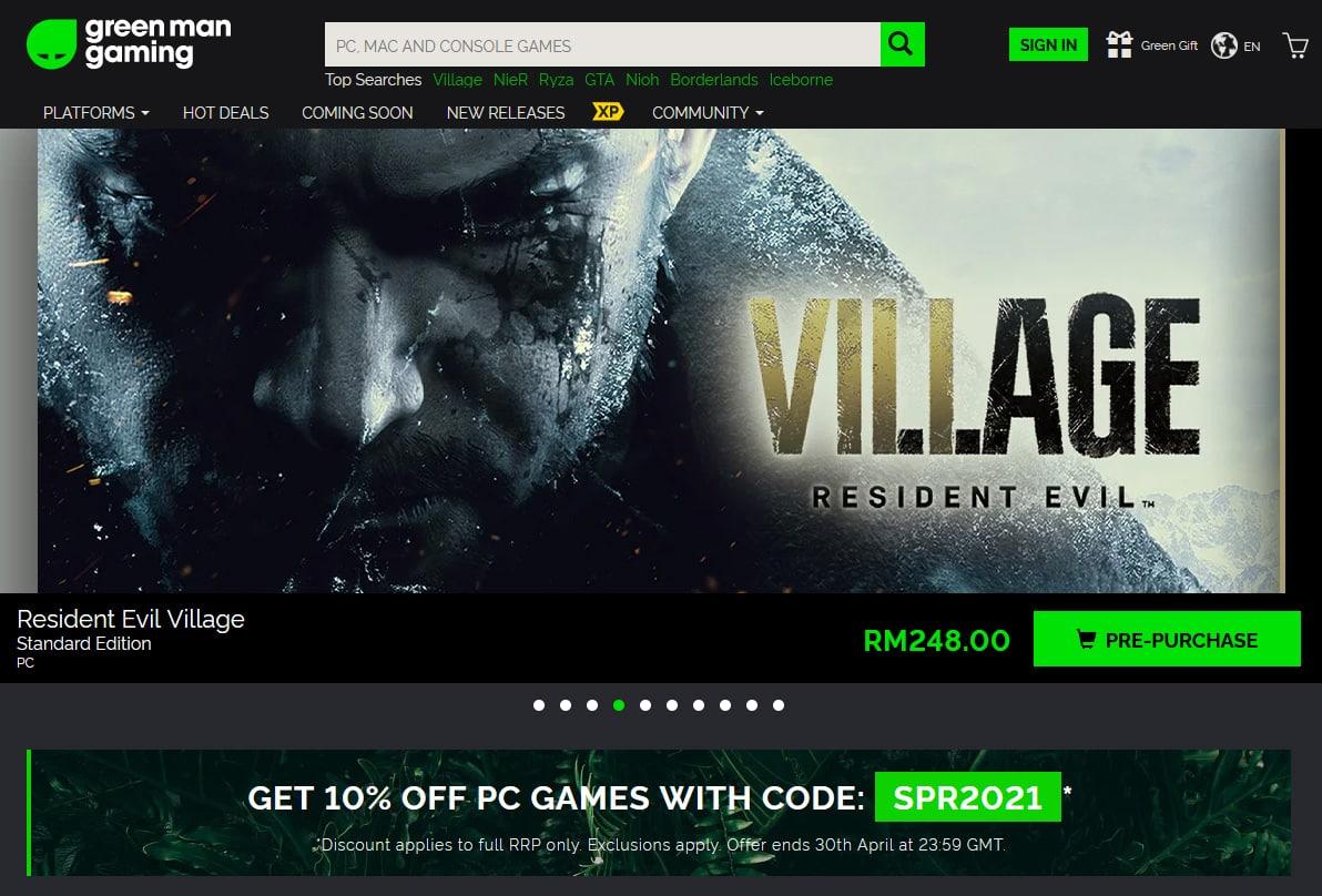 Green Man Gaming homepage