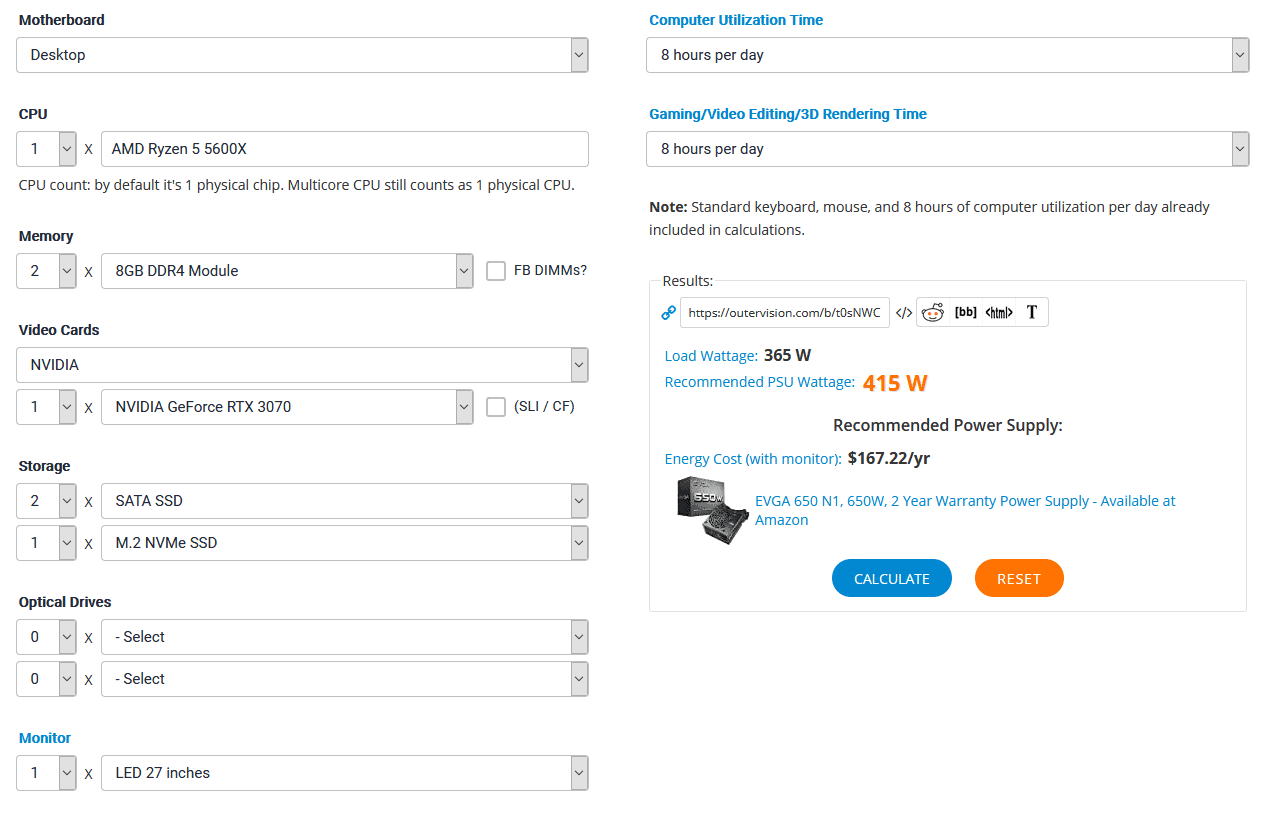 Outervision's PSU calculator