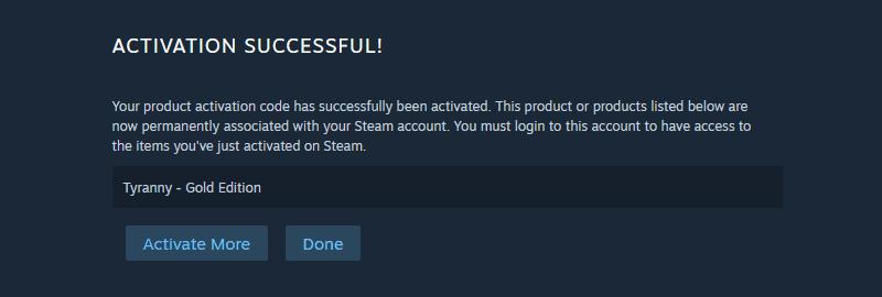 steam activation success