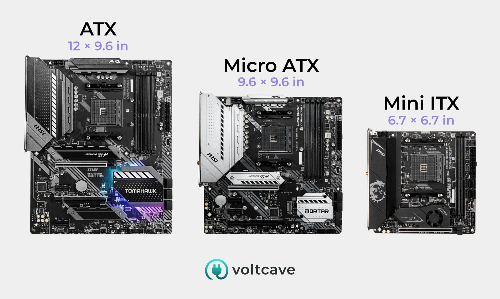 motherboard sizes side-by-side