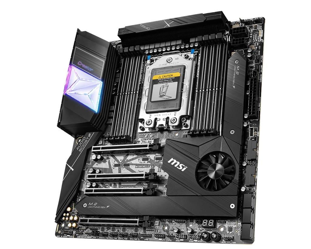 the MSI TRX40 creator threadripper motherboard