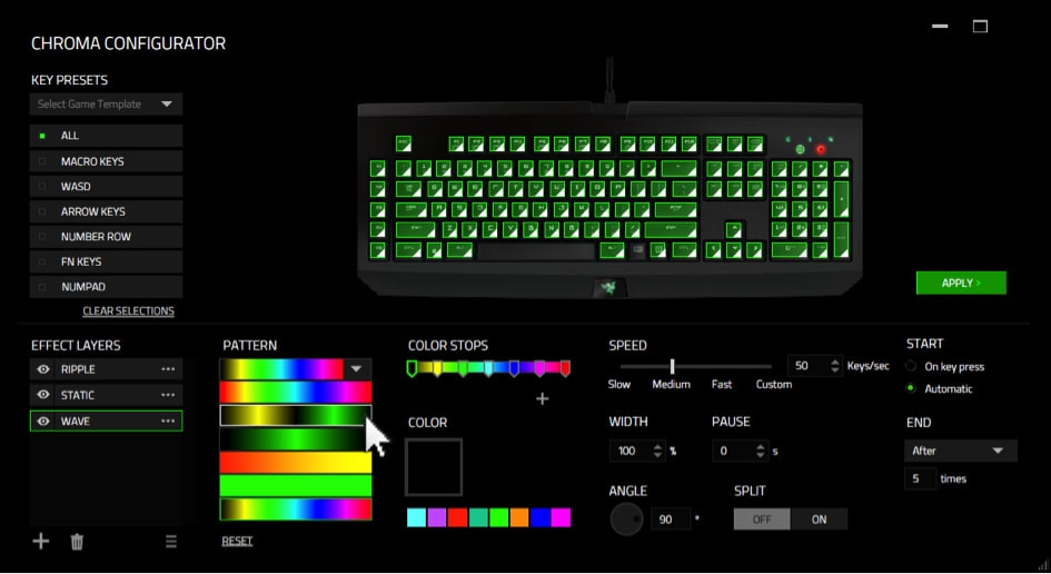 razer synapse rgb lighting customization