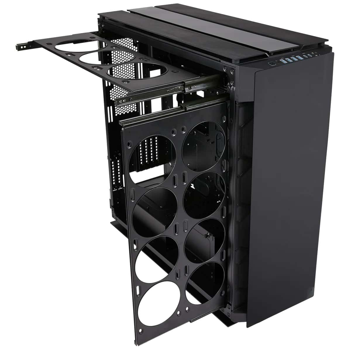 Fan and radiator slide-out trays in the Corsair 1000D